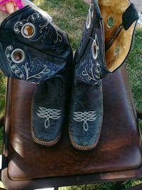 pair of brown-and-black leather cowboy boots Aurora, 80011