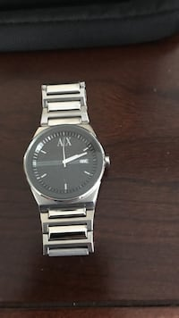Round silver analog watch with silver link bracelet Armani Wappinger, 12590