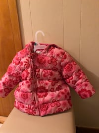 Pink and white floral zip-up winter coat for baby girl Delson, J5B 1Z9
