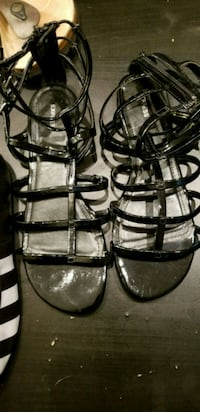 pair of black leather open-toe strappy heels Arlington, 22209