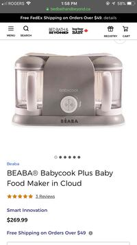 Beaba Babycook Pro 2X with rice/pasta cup add-on.