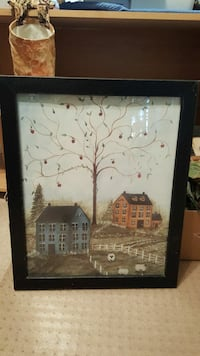 black wooden framed painting of house California, 20619