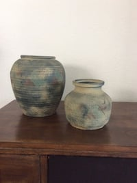 two beige-red-and-blue ceramic vases Irvine, 92606