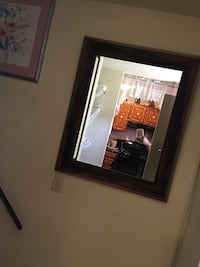 rectangular brown framed wall mirror Holyoke, 01040