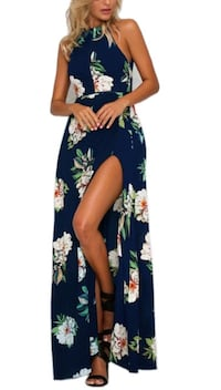 Women's blue and white floral sleeveless dress Durham, 95938