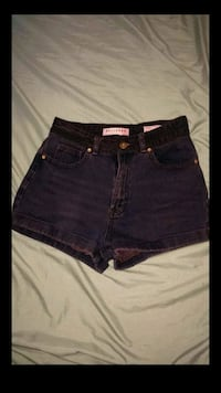 women's blue denim short shorts screenshot