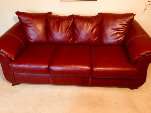 Red leather sofa/loveseat