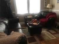Brown sofa, ottoman and chair . Leather like materials