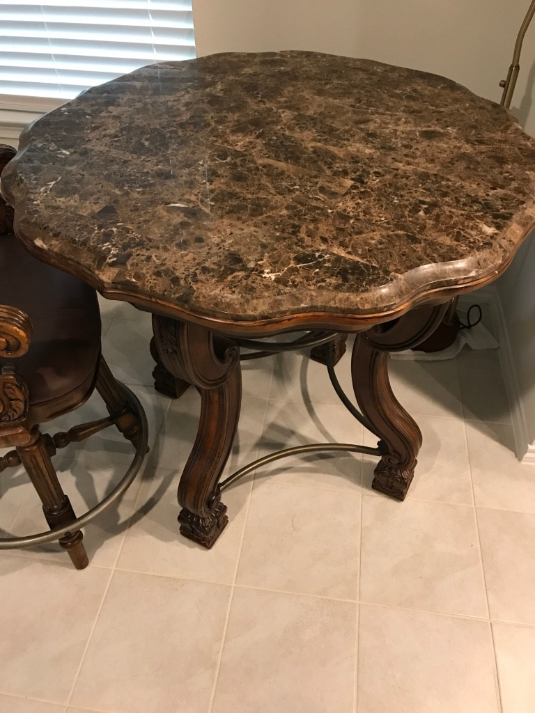used breakfast table w chairs granite top wood carved table w 4 rh gb letgo com