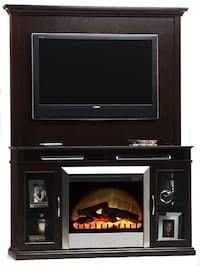 Tv unit with tv mount bracket and remote control chrome fireplace Mississauga, L5R 1M2