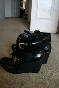 pair of black leather chunky heeled booties Woodbridge, 22192