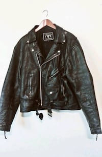 black leather zip-up jacket Redding, 96001