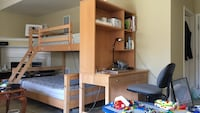 Desk and bunk bed with mattress