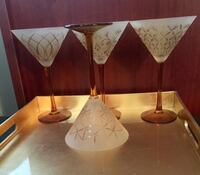 Discontinued MIKASA • $110+ CAD Retail • Cheers Artistry Martini Glasses in Frosted Amber • $25 FIRM! Winnipeg