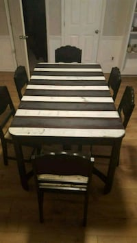 Art deco table with 6 upholstered chairs Acworth