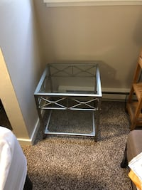 gray metal framed glass top side table Vancouver, V5S 1P7