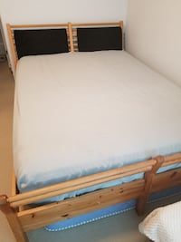 Ikea Queen bed without mattress, includes dresser with mirror