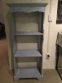 Blue Coat Rack and Hand Painted Shelves