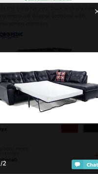 Black leather sectional couch New York, 11233