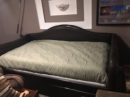Leather Brown Daybed, Mattress, & Twin Linens