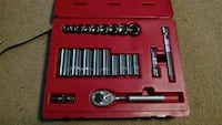 gray ratchet wrench set with case