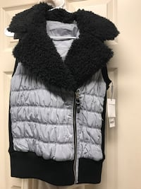 Black and gray fur vest