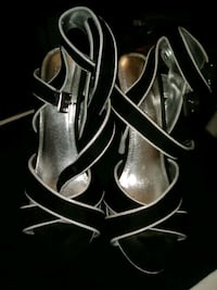 Black and white paprika heels