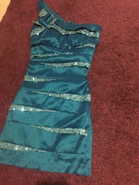teal and gray one shoulder tiered dress