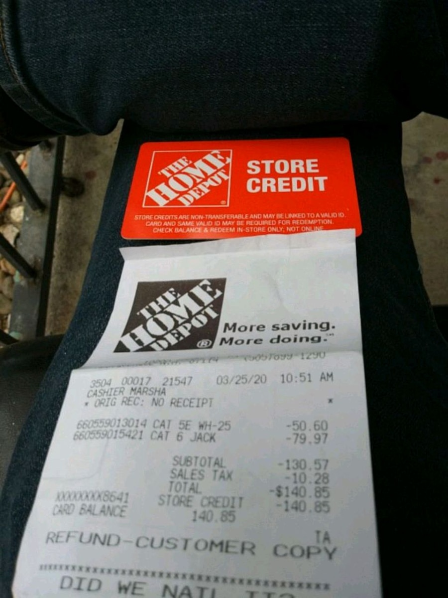 Photo Home depot Card 140.85