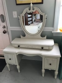 Majestic Victorian/ Jacobean antique white vanity table mirror Kensington, 20895