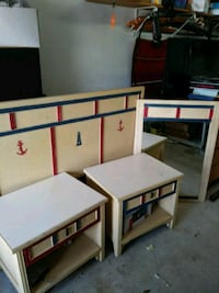 Full size Kids Headboard,rails,2 nightstands and M Mission
