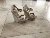 pair of gray open-toe wedge sandals Hollywood, 33021