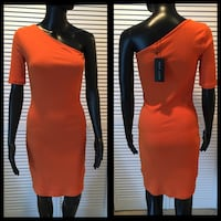 New Ribbed Orange One Shoulder Body-Con Dress Size 6 Fort Washington, 20744