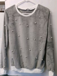 Gray fuzzy Fleece Sweater with white Pearls Mount Pleasant, 48858
