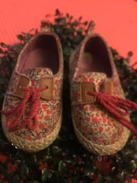 Pair of brown-and-pink floral flats Lancaster, 93534