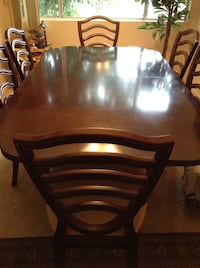 Rectangular brown extension wooden table with six chairs dining set 2278 mi