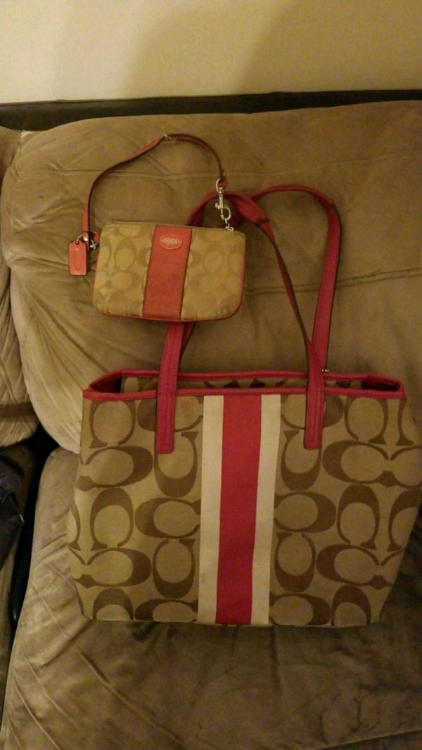 pink and brown Coach monogram tote bag