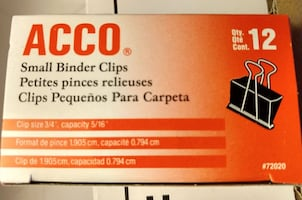 Binder Clips QTY 144 , 12 Clips / 12 Boxes