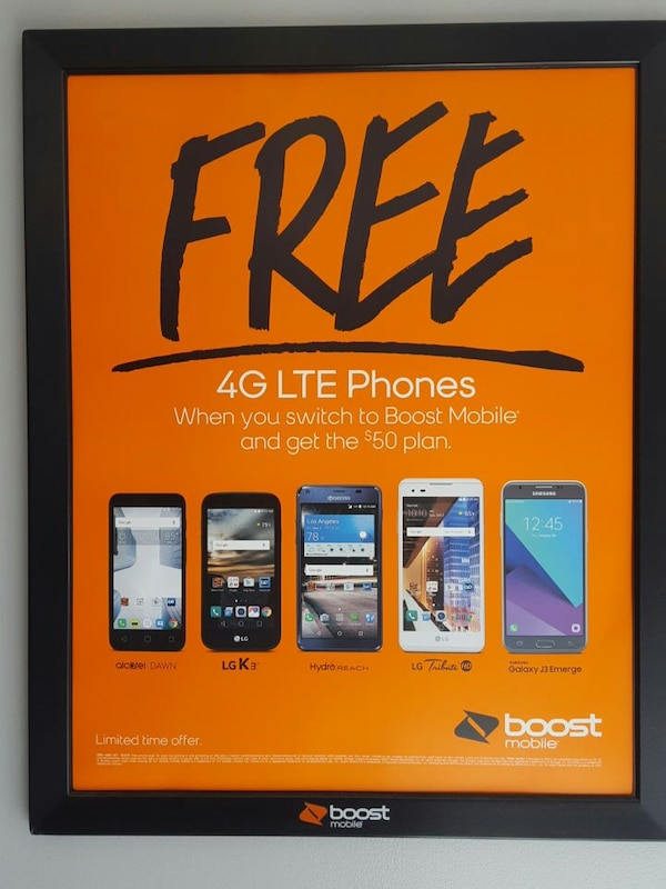 Used free 4g lte phones boost framed poster for sale in