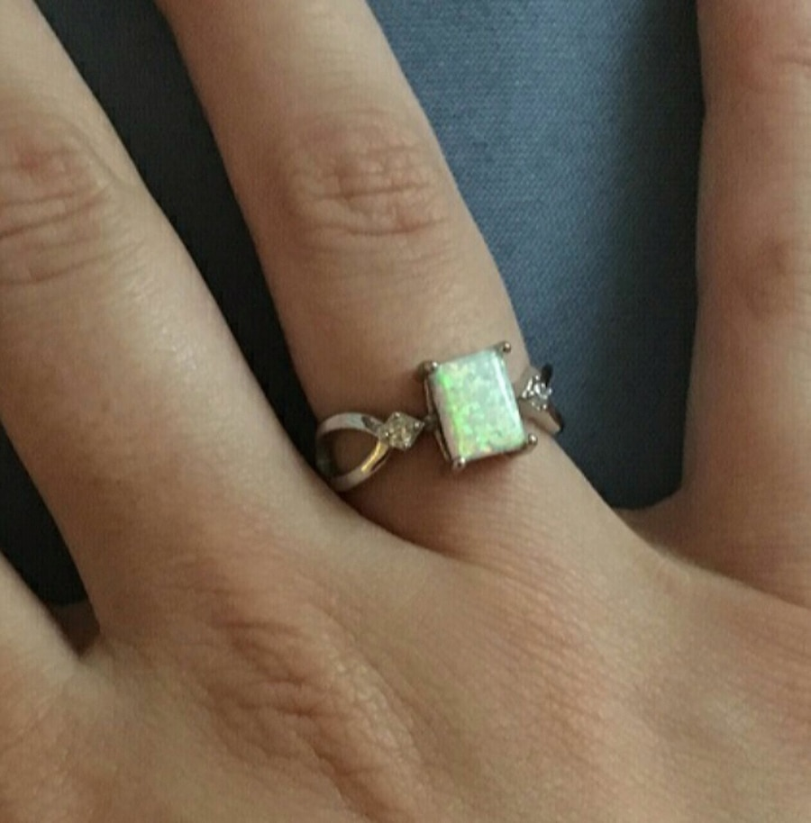 Photo Size 4-12 Genuine Sterling Silver Opal Ring