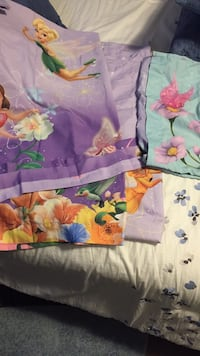 Tinker bell curtains and tie backs and pillow case next to new Morinville