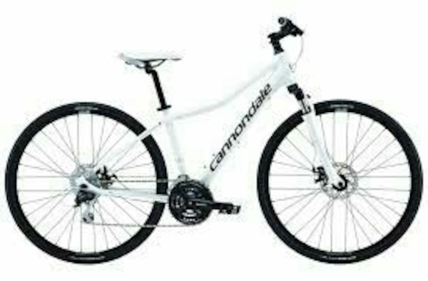 white Cannondale hybrid bike