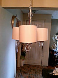fabric and glass Chandelier 3 shades
