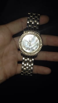 Round silver-colored chronograph watch with link bracelet Louisville, 40272