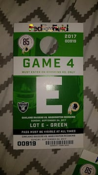 FedEx Field game 4 admission ticket Woodbridge, 22191