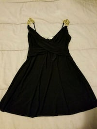 Body Central Black Halter with Gold Accent