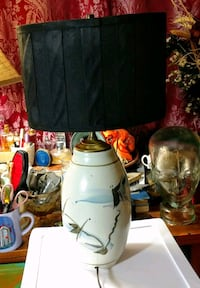 Vintage ceramic watercolor painted table lamp Athens, 30601