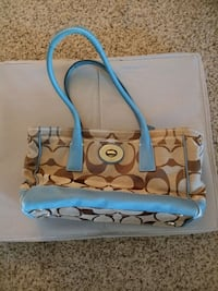 Blue and tan Authentic Coach purse Greenbelt, 20770