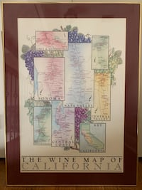 Wine country map poster-framed