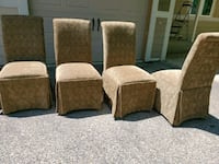 Covered Chairs (4) in Olive Brocade